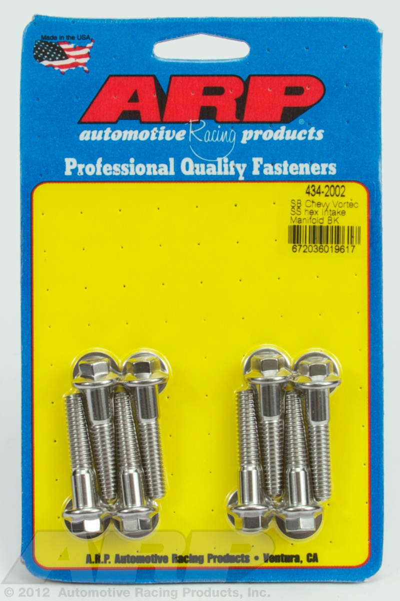 434-2002 - ARP - SB Chevy Vortec SS hex intake manifold bolt kit - Polished - Stainless Steel